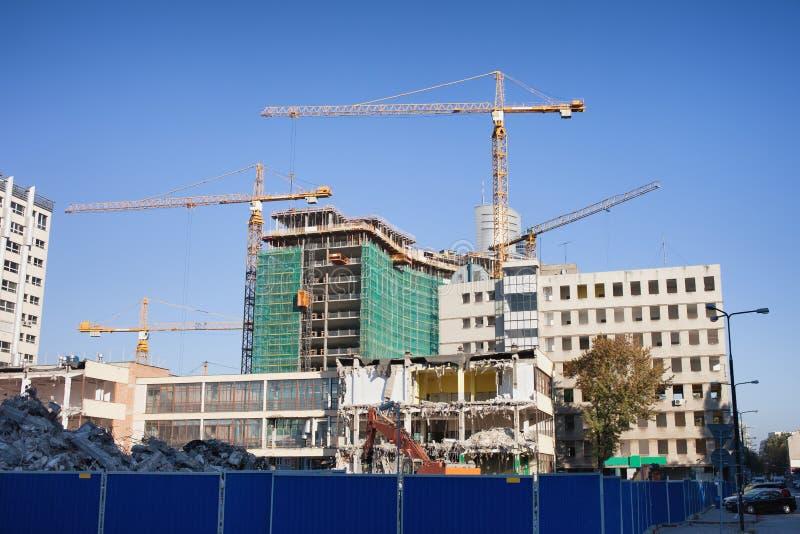 Budowa i Deconstruction miejsce w Warszawa zdjęcie stock