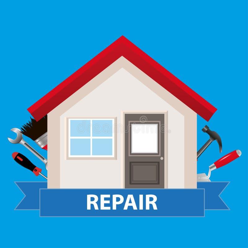 Budowa i domowy odświeżanie Dom z narzędziami i taśmą na a royalty ilustracja