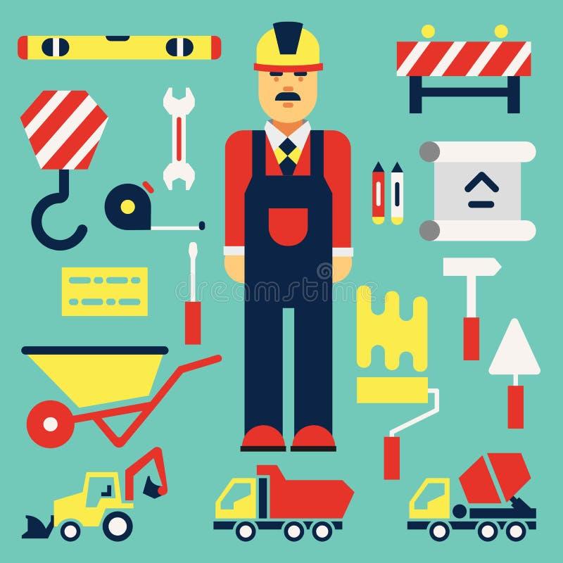 Budowa Inżynier z budowa elementami Płaski illustra ilustracji