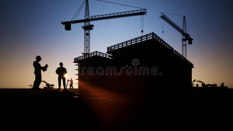 Budowa inżyniera sylwetka ilustracja wektor