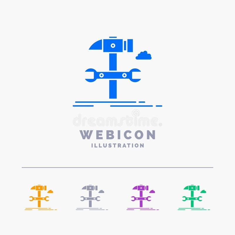 Budowa, inżynieria, młot, naprawa, usługi 5 koloru glifu sieci ikony szablon odizolowywający na bielu r?wnie? zwr?ci? corel ilust royalty ilustracja