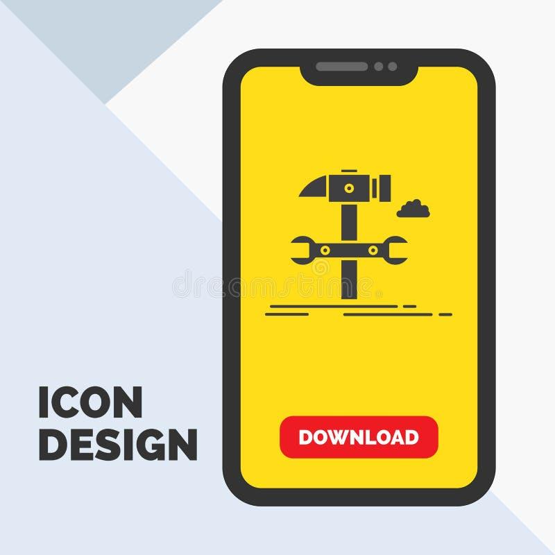 Budowa, inżynieria, młot, naprawa, usługowa glif ikona w wiszącej ozdobie dla ściąganie strony ? ilustracji