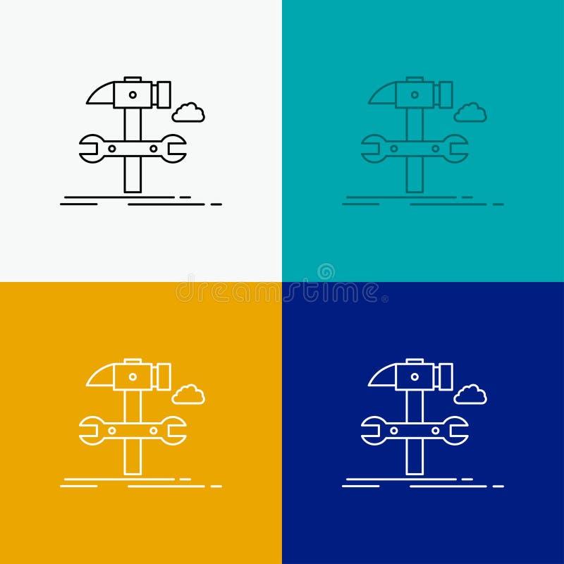 Budowa, inżynieria, młot, naprawa, usługowa ikona Nad Różnorodnym tłem Kreskowego stylu projekt, projektuj?cy dla sieci i app 10  ilustracja wektor