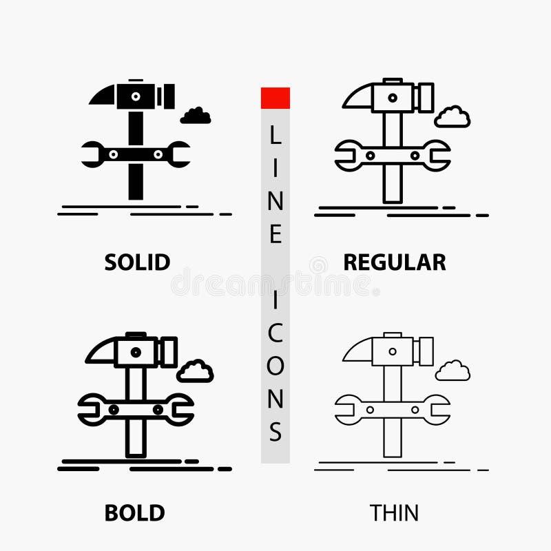 Budowa, inżynieria, młot, naprawa, usługowa ikona w linii i glifie Cienkiej, Miarowej, Śmiałej, Projektuje r?wnie? zwr?ci? corel  ilustracji