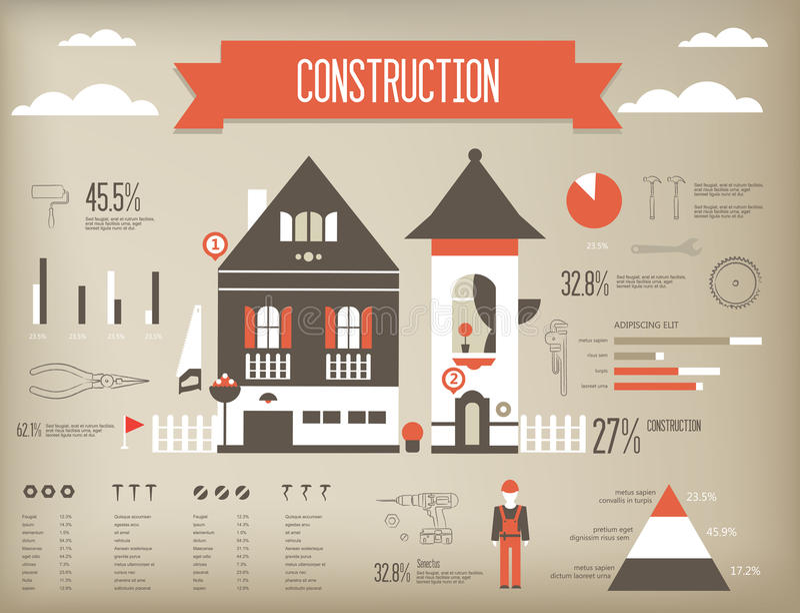 budowa infographic ilustracja wektor