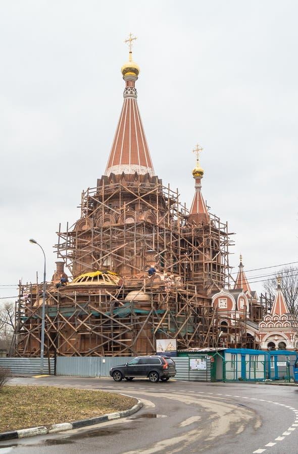 Budowa kościół Wszystkie święty przy Filevskaya floodplain moscow zdjęcie royalty free
