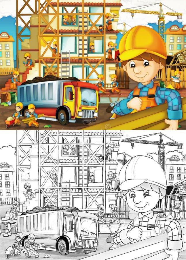 Budowa - kolorystyki strona z zapowiedzią ilustracja wektor