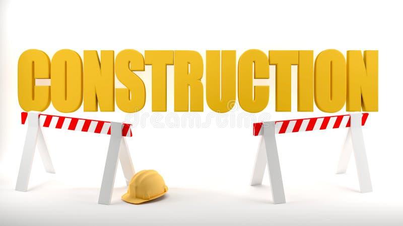 Budowa logo z ciężkiego kapeluszu i budowy barierami symbolizuje bezpieczeństwo w budowie, biały tło ilustracji