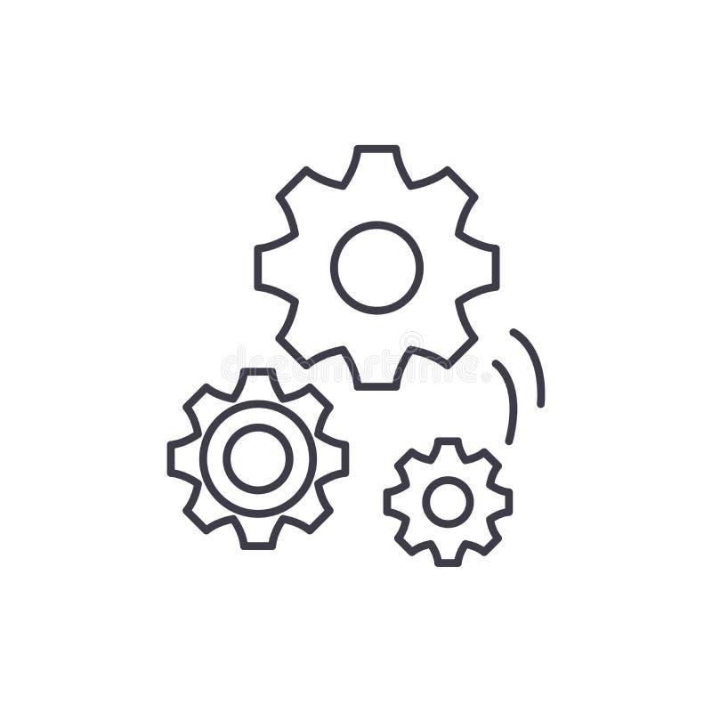 Budowa maszyn ikony kreskowy pojęcie Budowa maszyn wektorowa liniowa ilustracja, symbol, znak royalty ilustracja
