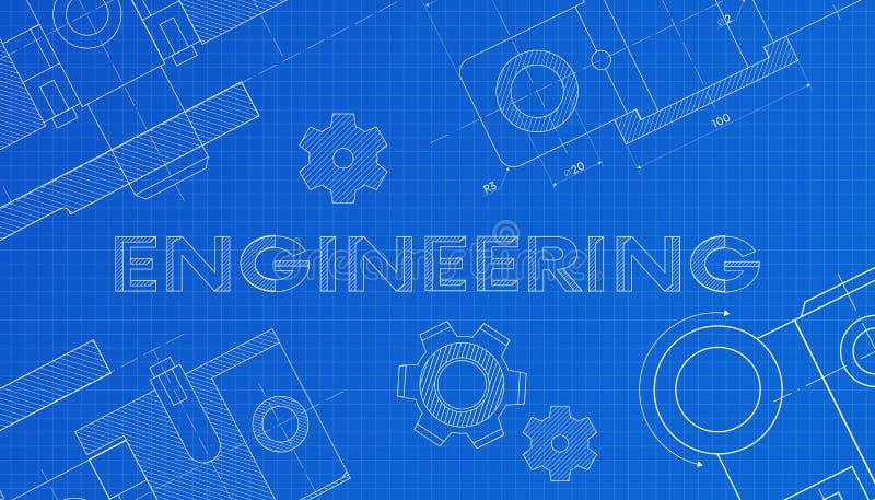 Budowa maszyn rysunki rysunek techniczny t?o abstrakcyjna technologii KONSTRUUJĄCY - nauka, technologia ilustracja wektor