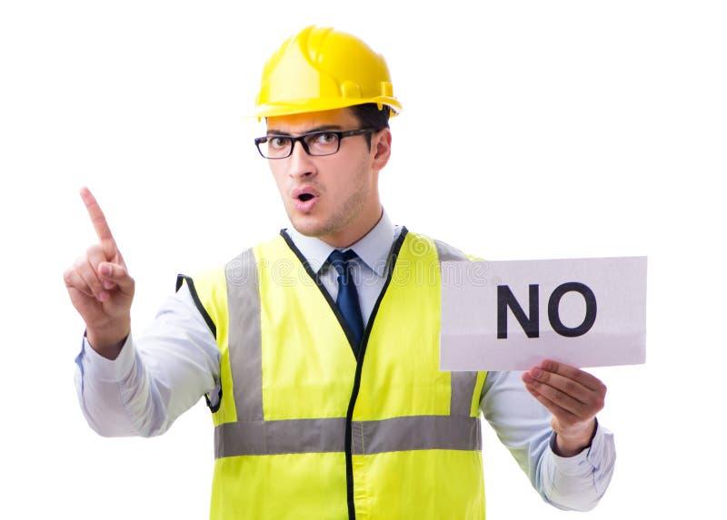 Budowa nadzorca bez asnwer odizolowywaj?cego na bia?ym backgro fotografia stock