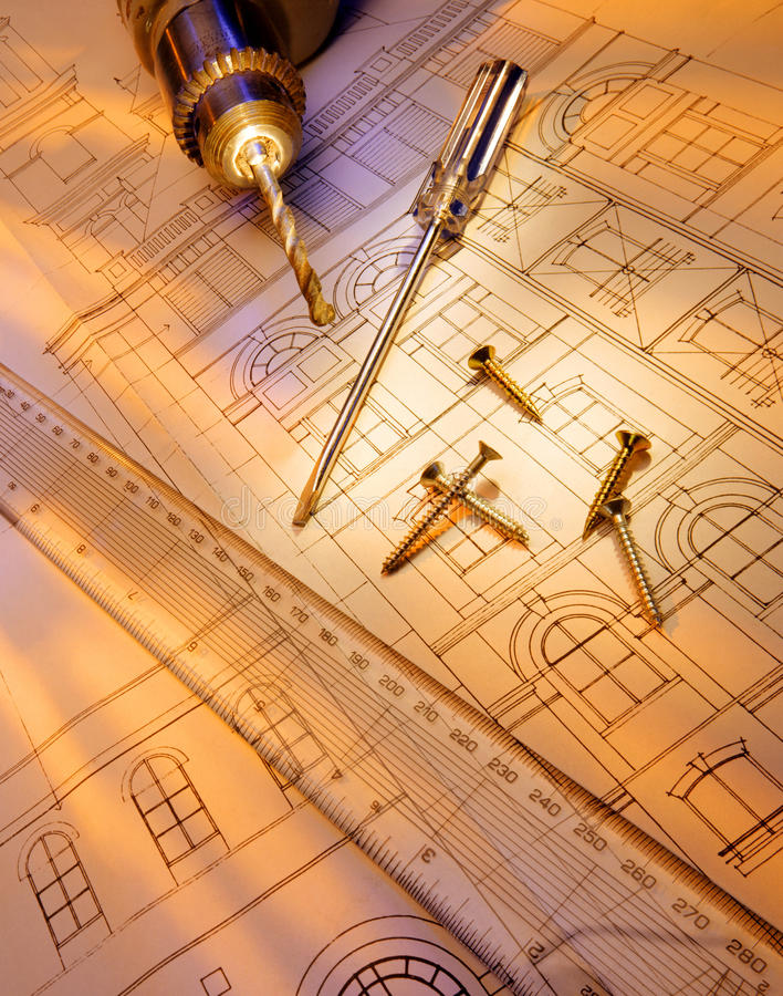 Budowa - narzędzia - plany fotografia royalty free