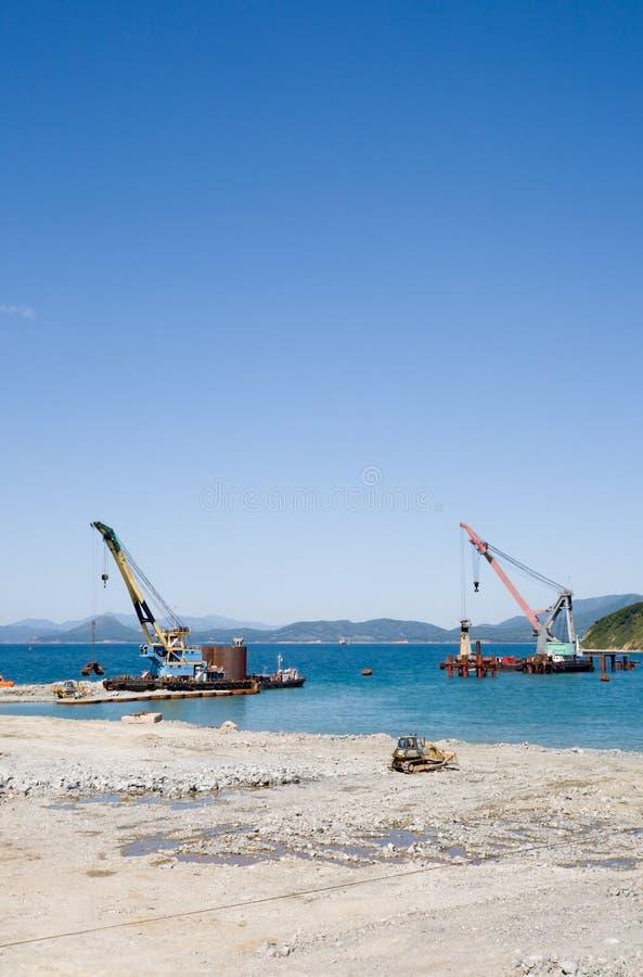 budowa nowego portu morskiego zdjęcie stock