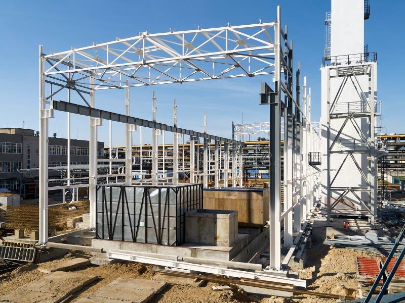Budowa nowożytna chemiczna produkcja w trakcie gromadzić kriogeniczny lotniczy separacyjny dział z metalem fotografia stock