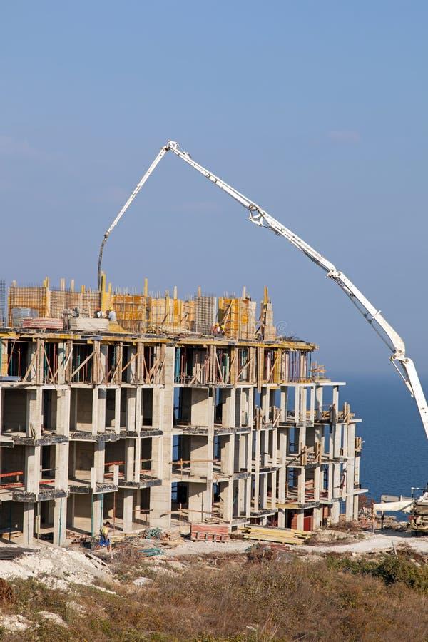 Budowa nowy elita budynki mieszkalne na morzu obraz royalty free