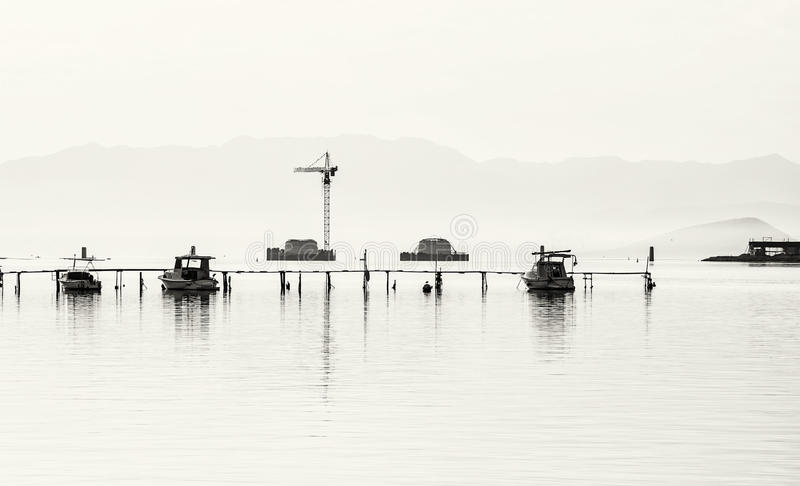 Budowa nowy most od Trogir Ciovo wyspa, co obrazy royalty free
