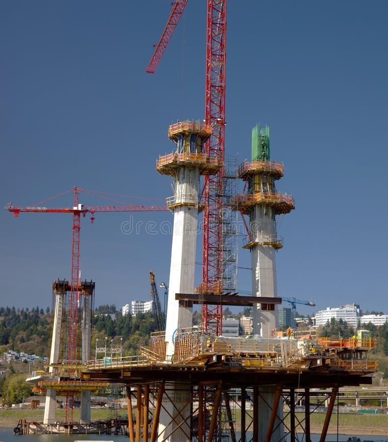 Budowa nowy bridżowy Portland LUB. obrazy stock