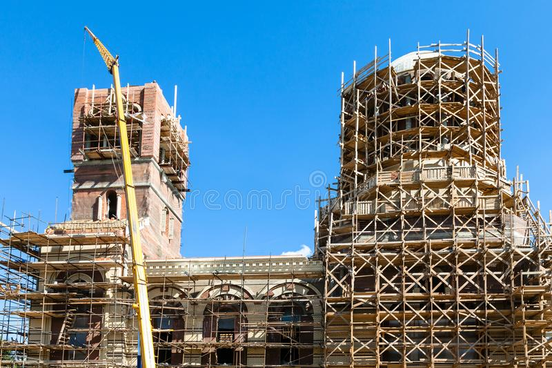 Budowa nowy ortodoksyjny kościół zdjęcie royalty free