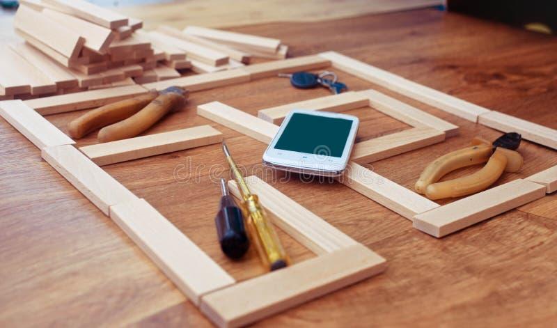 Budowa plan dla domowego budynku fotografia stock