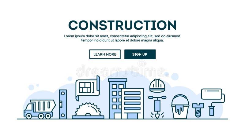 Budowa, pojęcie chodnikowiec, płaskiego projekta cienki kreskowy styl ilustracji