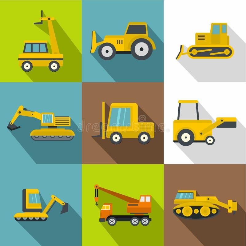 Budowa pojazdów ikony ustawiać, mieszkanie styl ilustracji