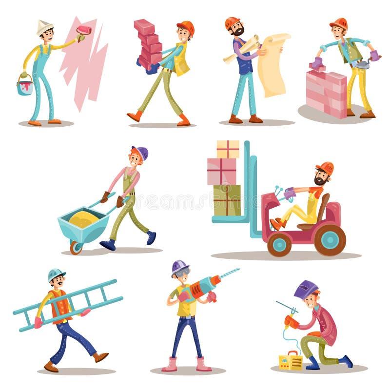 Budowa pracowników lub budowniczych mężczyzna wektorowej kreskówki budynku zawodu śmieszni charaktery odizolowywali ikony ustawia royalty ilustracja