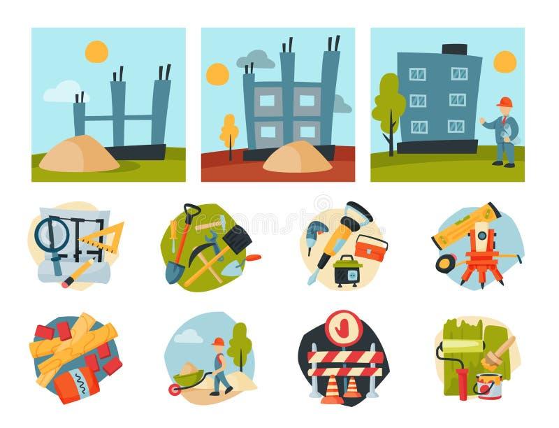 Budowa pracowników przemysłu wyposażenia powietrznej architektury budynku rozwoju biznesu wektoru dźwigowa ilustracja ilustracja wektor