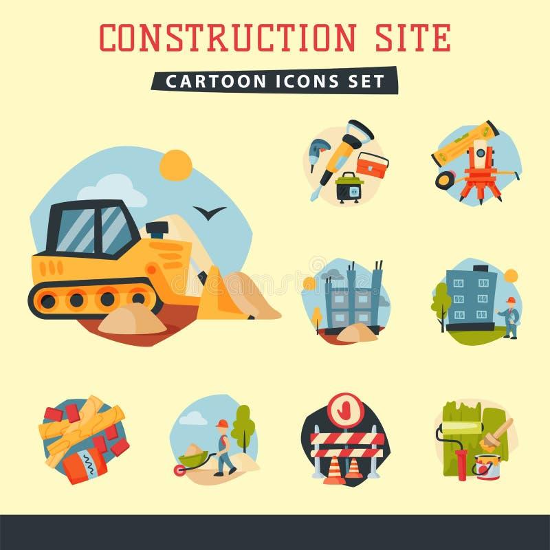 Budowa pracowników przemysłu wyposażenia powietrznej architektury budynku rozwoju biznesu wektoru dźwigowa ilustracja ilustracji