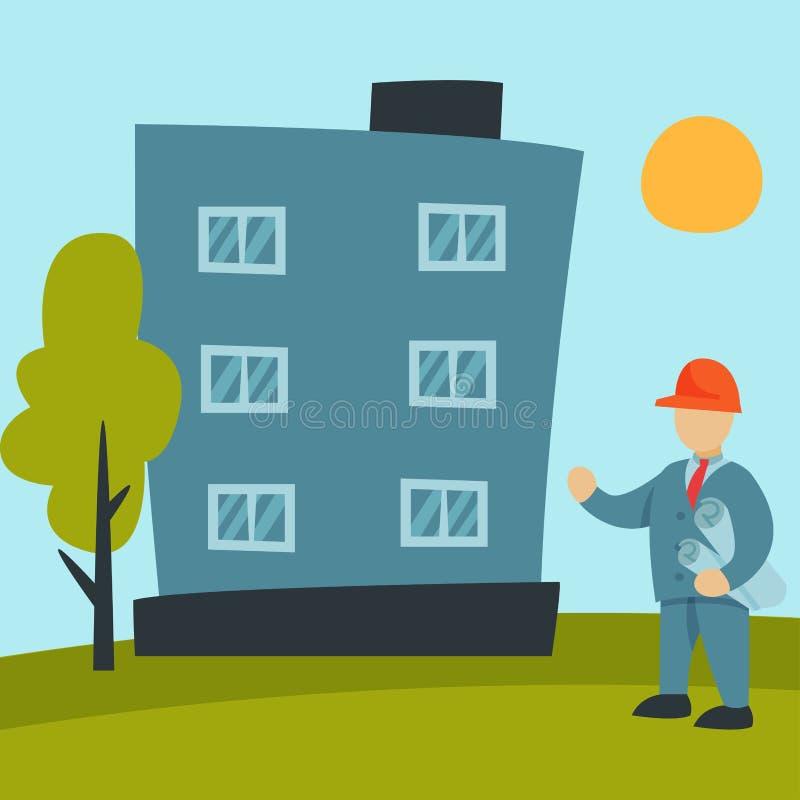 Budowa pracowników przemysłu wyposażenia powietrznej architektury budynku rozwoju biznesu wektoru dźwigowa ilustracja royalty ilustracja