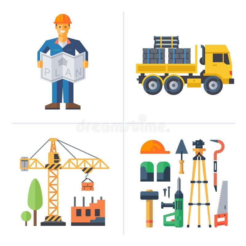 Budowa Pracownik trzyma plan ilustracji