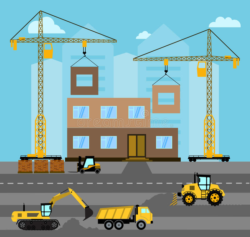 Budowa Proces budynek Przemysłowy krajobrazowy Wektorowy mieszkanie ilustracja wektor