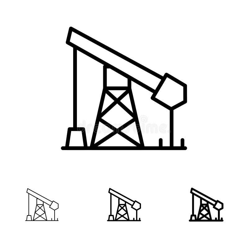 Budowa, przemysł, olej, Benzynowy czerni linii ikony set, Śmiały i cienki ilustracja wektor