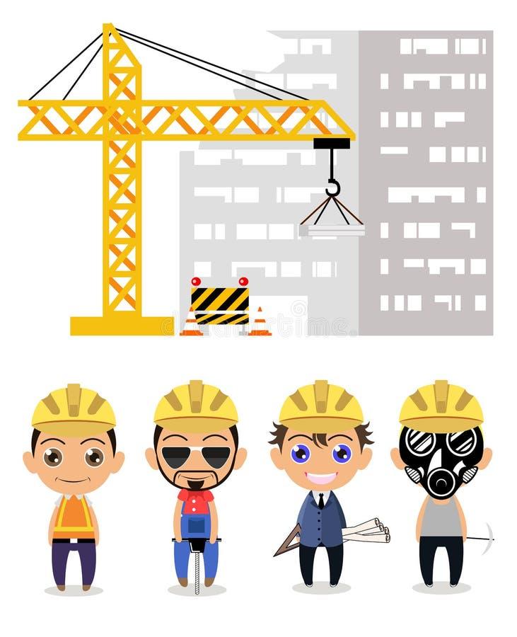 Budowa przemysłowego pracownika profesjonalisty drużyny postaci z kreskówki projekt ilustracja wektor