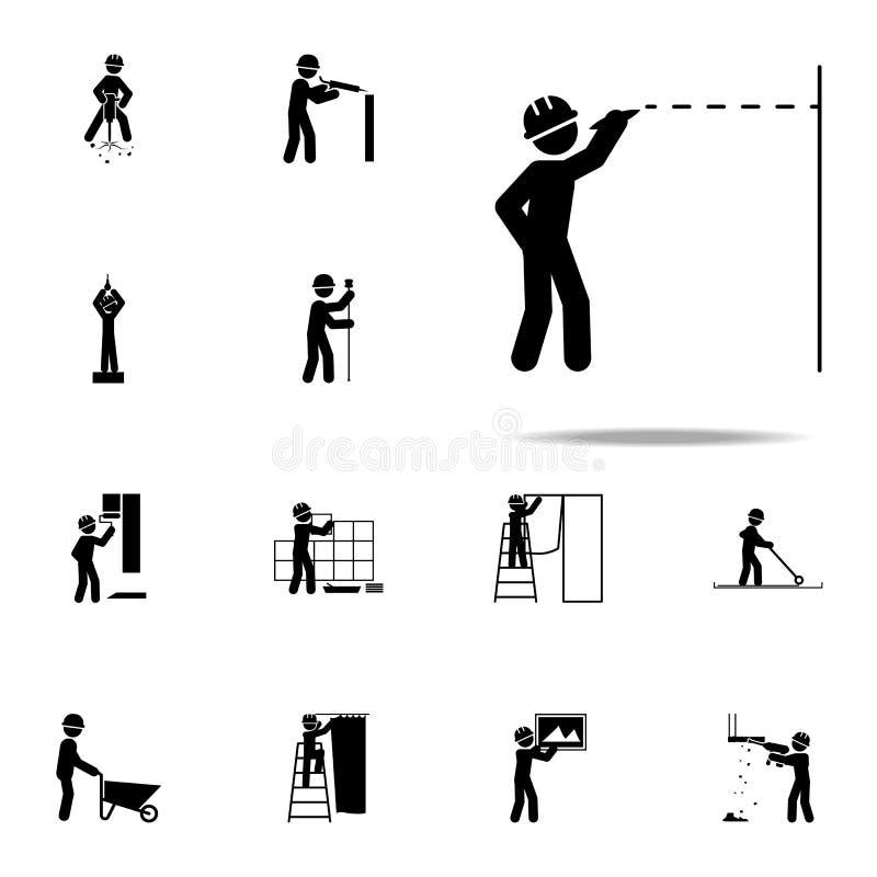 budowa, rysunkowa pracownik ikona Budów ikon ogólnoludzkich ustawiającego dla sieci i wiszącej ozdoby ludzie ilustracji