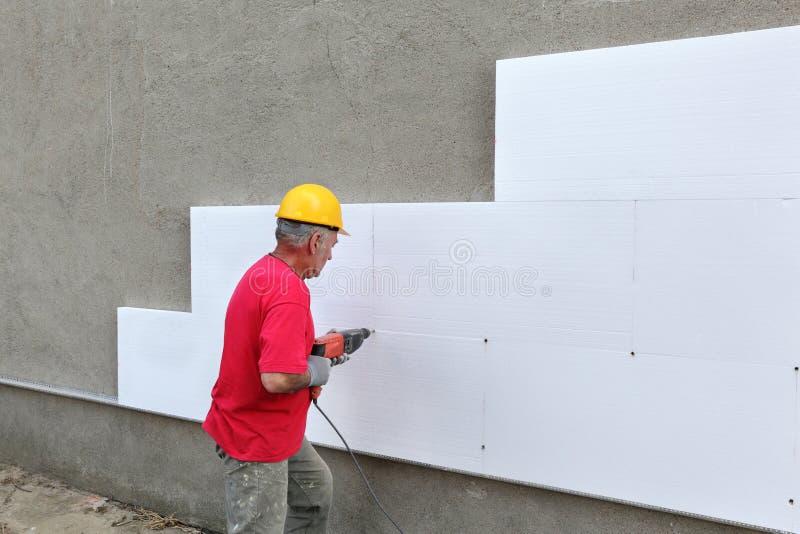 Budowa, styrofoam izolaci musztrowanie dla kotwicy obrazy royalty free