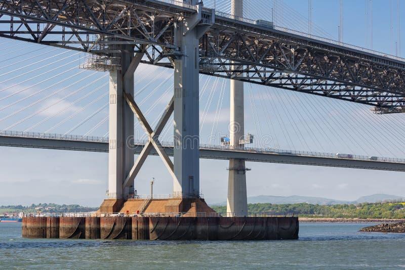 Budowa szczegółu Naprzód drogi most nad Firth Naprzód, Szkocja zdjęcie stock