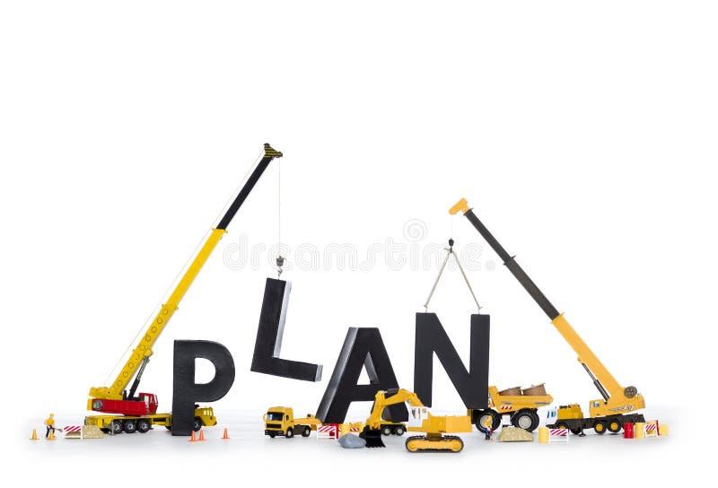 Budowa w górę planu: Maszyny buduje słowo. obrazy royalty free