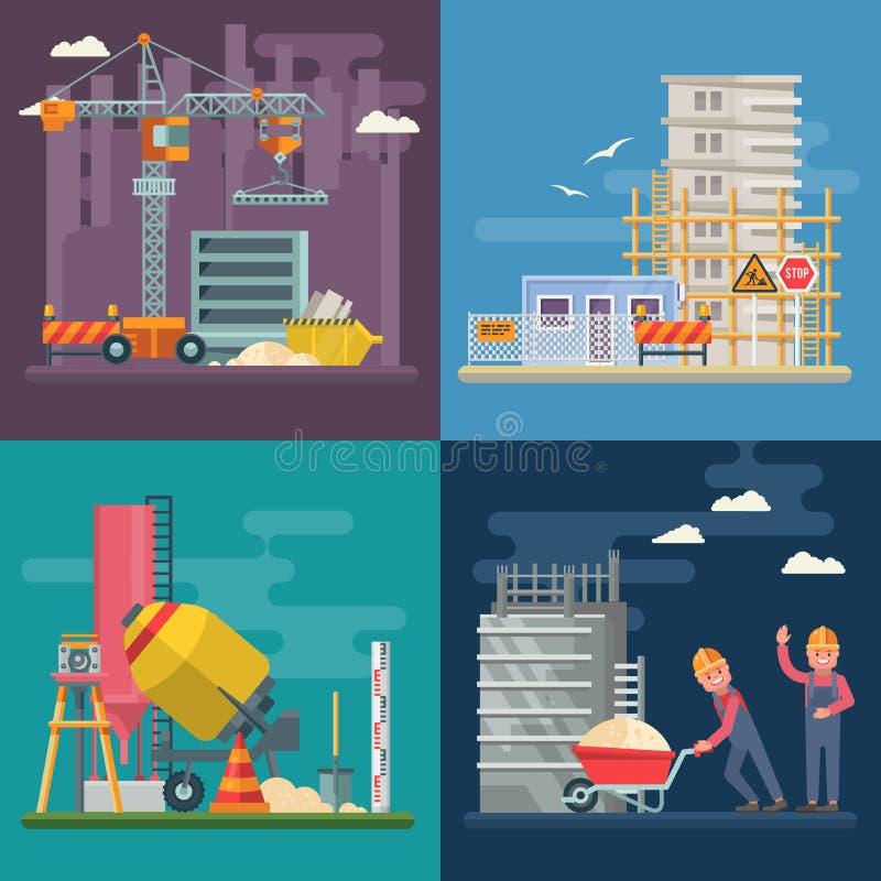 Budowa wektorowy płaski kolorowy set ilustracja z kolorowymi budynków narzędziami Budynku plakat w nowożytnym stylu royalty ilustracja
