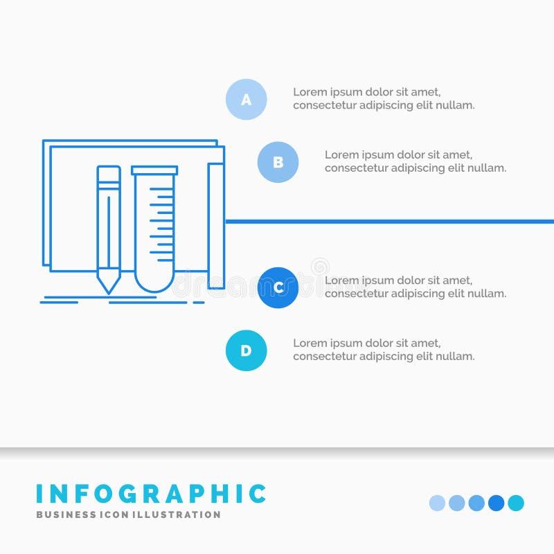 budowa, wyposa?enie, bajeczny dla strony internetowej, lab, narz?dzia Infographics szablon i prezentacja, Kreskowej B??kitnej iko ilustracja wektor