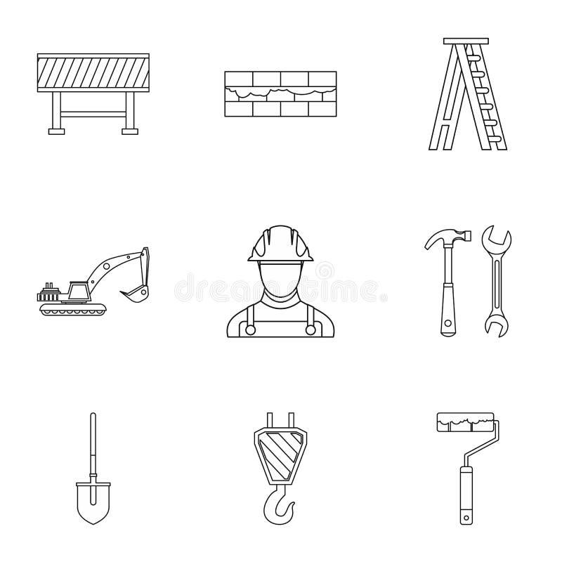 Budowa wytłacza wzory ikony ustawiać, konturu styl royalty ilustracja