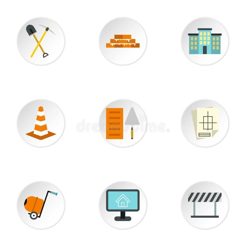 Budowa wytłacza wzory ikony ustawiać, mieszkanie styl ilustracji
