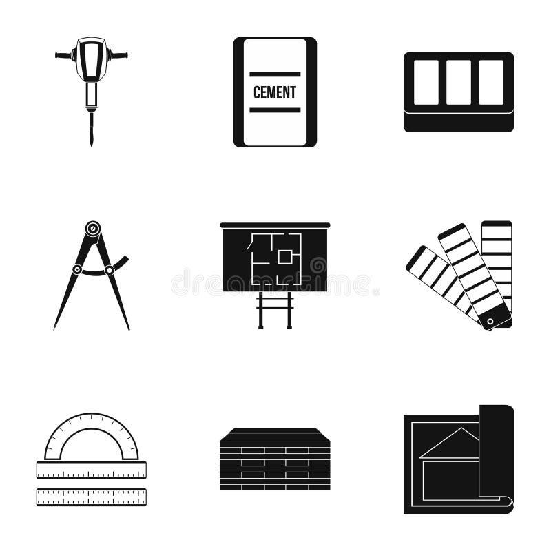 Budowa wytłacza wzory ikony ustawiać, prosty styl ilustracja wektor