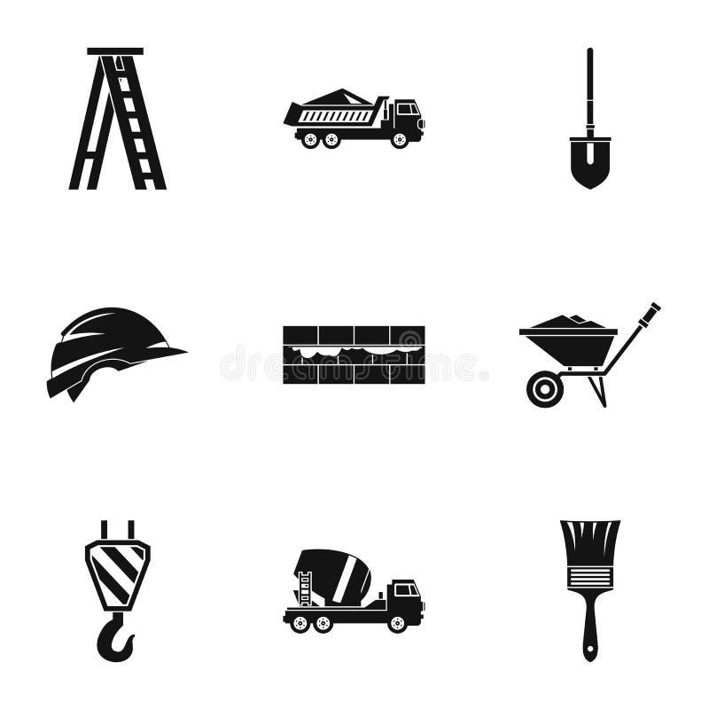 Budowa wytłacza wzory ikony ustawiać, prosty styl royalty ilustracja