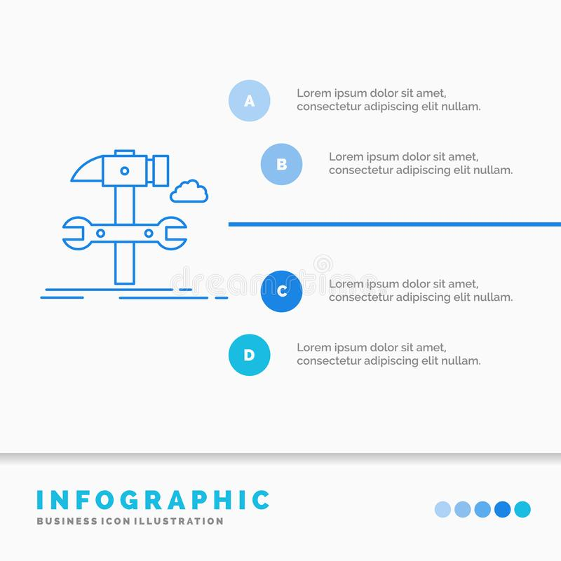 Budowa, in?ynieria, m?ot, naprawa, us?ugowy Infographics szablon dla strony internetowej i prezentacja, Kreskowej B??kitnej ikony ilustracja wektor