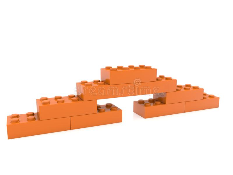 Budowa zabawkarskie cegły w brązie ilustracja 3 d ilustracji
