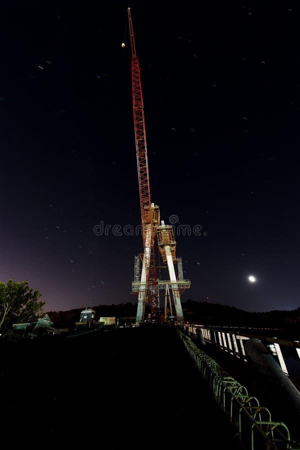 Budowa zmierzch, nocy scena/rzeka ohio - Ohio & Kentucky - Russell kabel Zostawał zawieszenie most - zdjęcia royalty free