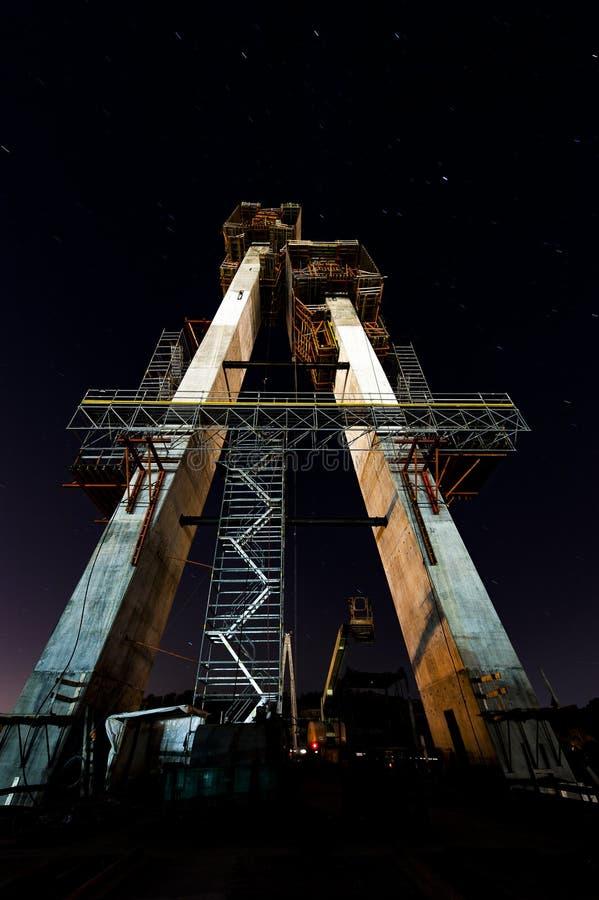 Budowa zmierzch, nocy scena/rzeka ohio - Ohio & Kentucky - Russell kabel Zostawał zawieszenie most - zdjęcie stock