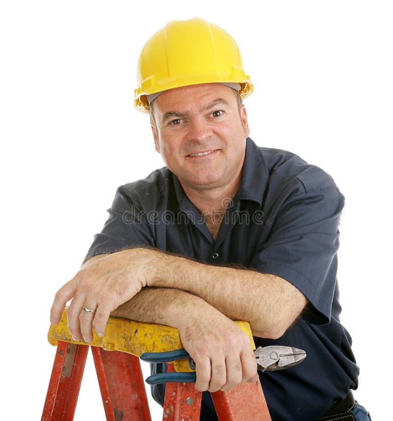 budowa zrelaksowany pracownika zdjęcie stock
