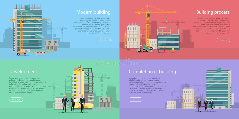budowanie nowoczesnej rozwojowy Budynku proces ilustracja wektor