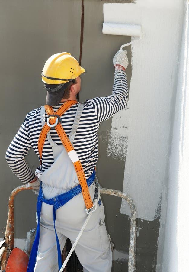 budowniczego fasadowa malarza praca obraz stock